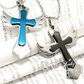 Cruz azul preto para os homens moda charme mulheres voar de asa pingente de crucifixo de aço inoxidável 316l colar atacado presente