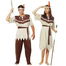 Women Indian Dress Men Indigenous Savage Costume Adult Party Cosplay Costumes Masquerade Show Clothes