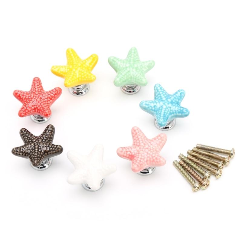 Starfish Cabinet Knob Handle Ceramic Door Cupboard Drawer Kitchen Pull Home Decor L15 zoobles twobles starfish