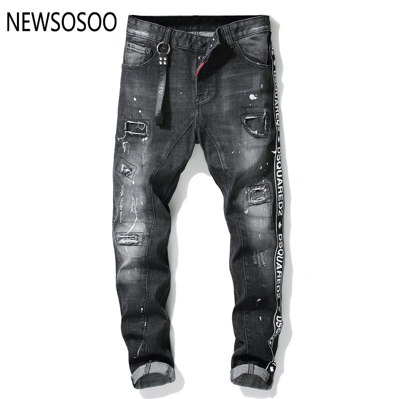 European American Style famous brand mens   jeans   luxury Men straight denim trousers zipper hole Slim black   jeans   for men