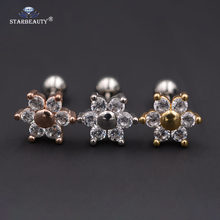 2Pcs/Lot Crystal Flower Ear Studs Cartilage Earrings Tragus Helix Piercing 16 Gauges Surgical Steel Ear Studs Lip Rings Nails(China)