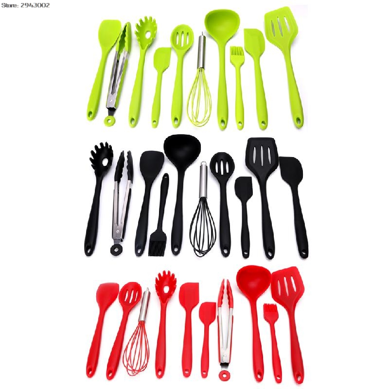 10Pcs/Set Heat Resitant Spoon Non-stick Silicone Kitchen Utensils Set Cooking Bake Tools