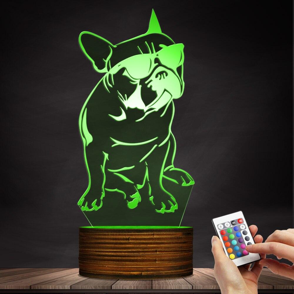 1 pièce 3D Bouledogue Français LED Nuit Lumière Pet Chiot Chien Avec Lunettes De Soleil Éclairage Décoratif Accueil Décor Couleur Table À Langer lampe