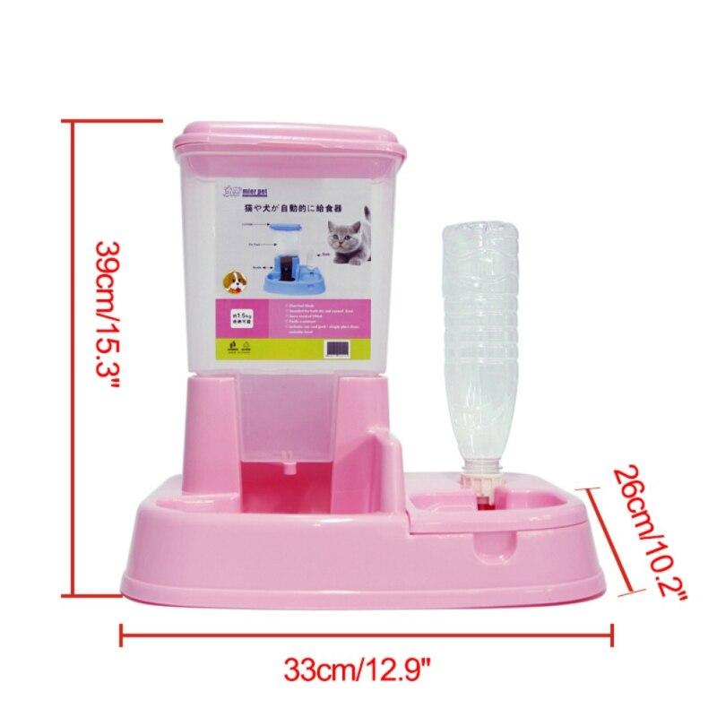 Для домашних собак и котов автоматической подачи автоматический дозатор воды Щенок питьевой фонтан еда Dishl зоотоваров - Цвет: Розовый