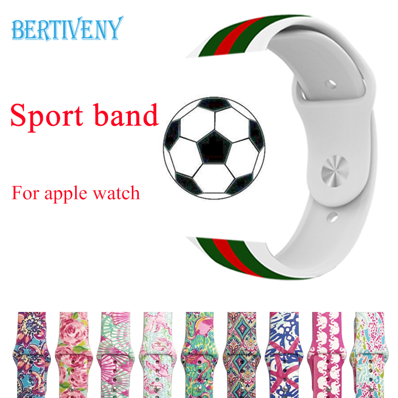 Print Flowers Silicone Strap for Apple Watch band 42mm 38mm Sport Watchband for iwatch Wristband Rubber Bracelet belt цена