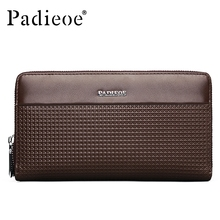 Padieoe Fashion Genuine Leather Wallets Men Cow Leather Clutch Wallet Business Male Purses Double Zipper Long Card Holder Wallet