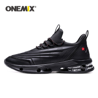 ONEMIX 2019 Outdoor Running Shoes Men Sneakers Technology Style Leather Shock Absorption Lightweight Fashion Sport Jogging Shoes