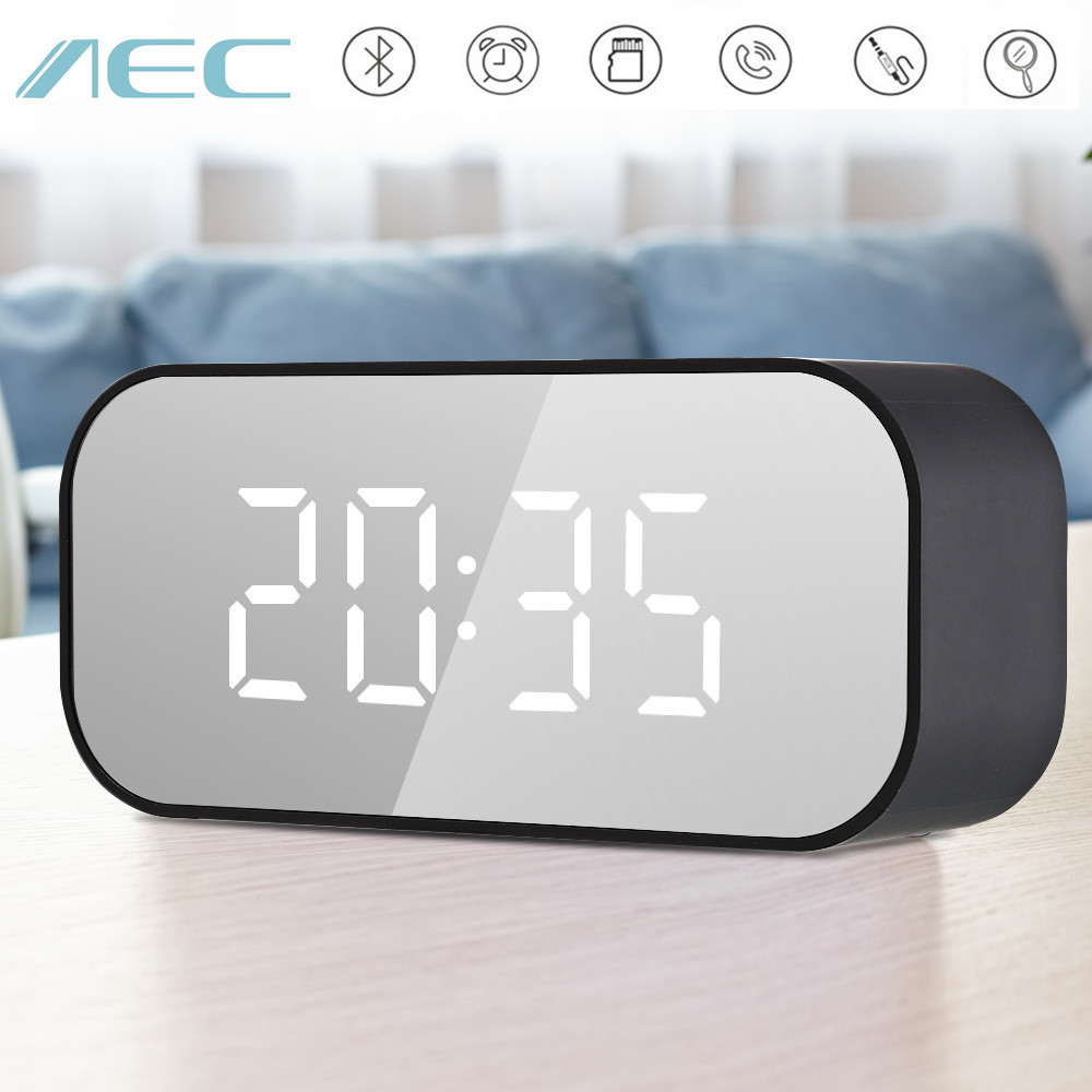 AEC BT501 Portable Clock Wireless Bluetooth Stereo Speaker LED Speaker Column Subwoofer Music Sound Box with Alarm Clock mirror hot sale portable column wireless bluetooth speaker outdoor powerful sound stereo audio box sport music speaker with tf usb