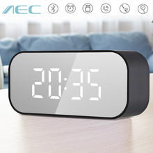 AEC BT501 Portable Clock Wireless Bluetooth Stereo Speaker LED Speaker Column Subwoofer Music Sound Box with Alarm Clock mirror(China)