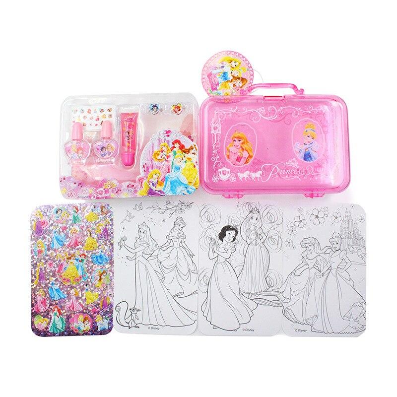Disney Princess Frozen 3d Sticker Toys Nail Polish  Kids Makeup Girls Toys For Children Birthday Gift Set Girl Games Play