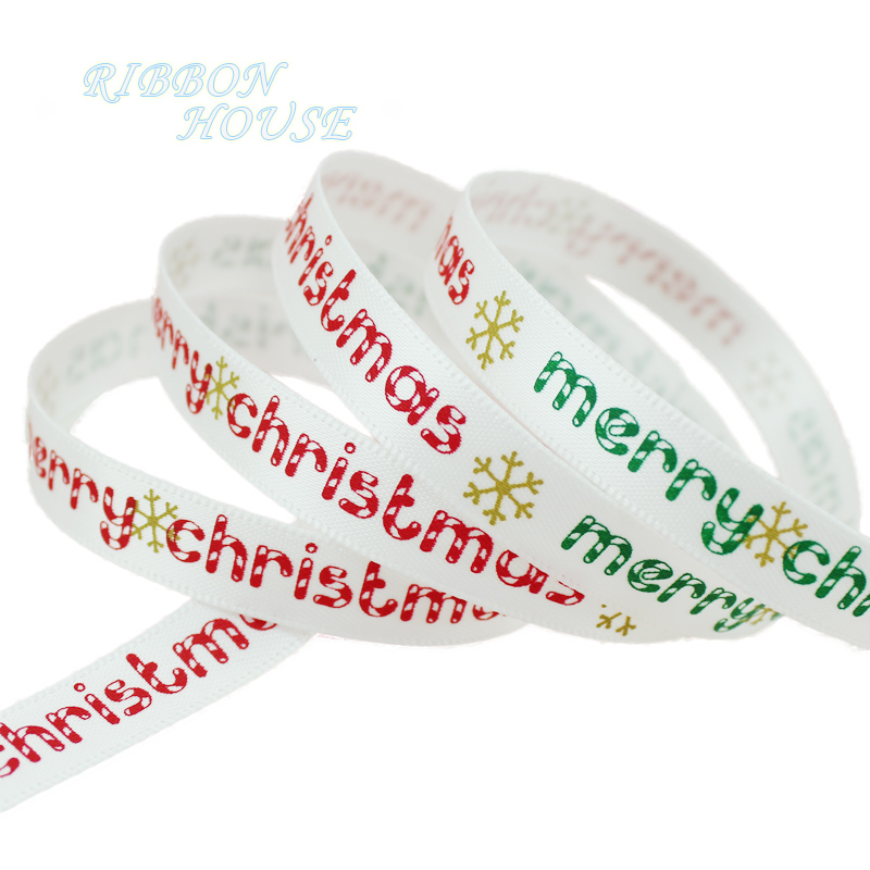 (5 ярдов/партия) 3/8 »(10 мм) красный и белый печатных grosgrain ленты Merry Рождество атласные ленты оптовая продажа