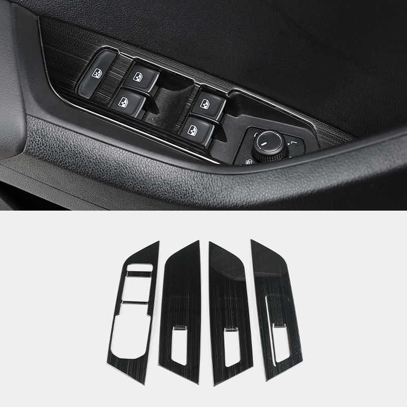 For Skoda Karoq 2017 2018 LHD Stainless Steel Black Window Glass Lifting Buttons Panel Decoration Trim Car Styling Accessory