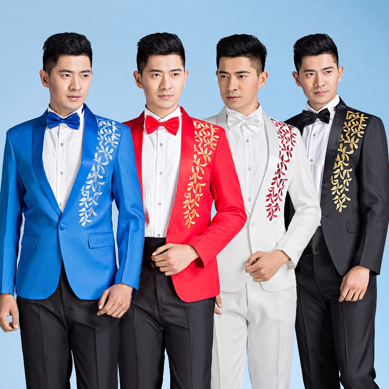 New man dress groom wedding suit mens singer host masterpiece performance clothing studio photo latest coat pant designs blue