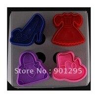 Wholesale Free Shipping 1 Set 4pcs Cookies Cutter High Heel Shoe Cap Dress And Handbag Cake