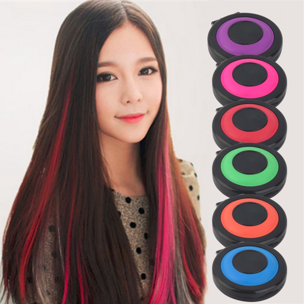 6 Colors Professional Temporary Hair Dye Powder Cake Styling Hair Chalk Set Soft Pastels Salon Hair Color Tools Kit Non-toxic