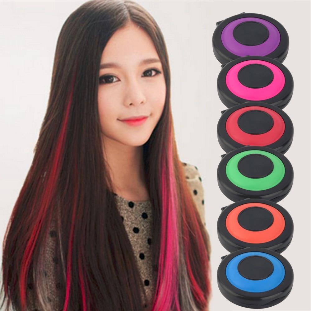 6 Colors Professional Temporary Hair Dye Powder Cake Styling Hair Chalk Set Soft Pastels Salon Hair Color Tools Kit Non-toxic