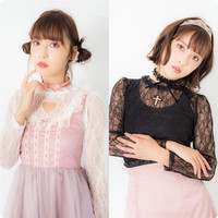 New Autumn Slim Lace Shirt Cute Love Cross Hollow Out Bust Embroidery Slim Sweet Women See