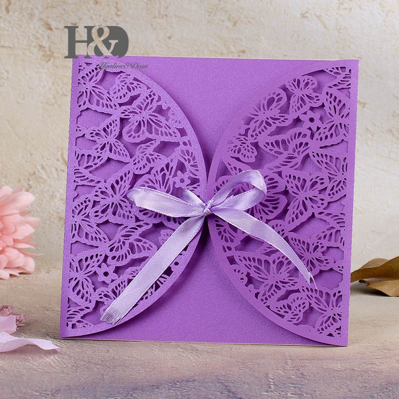 120set /lot Violet Laser Cut Butterfly Wedding Invitation Cards Party  Bussiness Cards Party Souvenirs Wedding