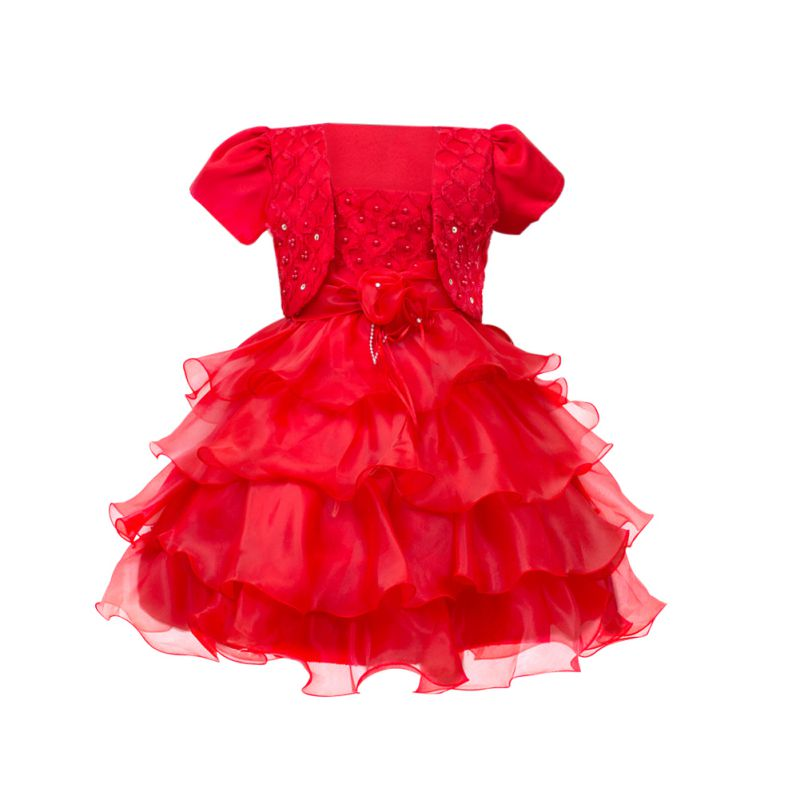 3-12Y Girls Retro Tulle Tutu Flower Party Dress Princess Pageant Wedding Long Layers Dress