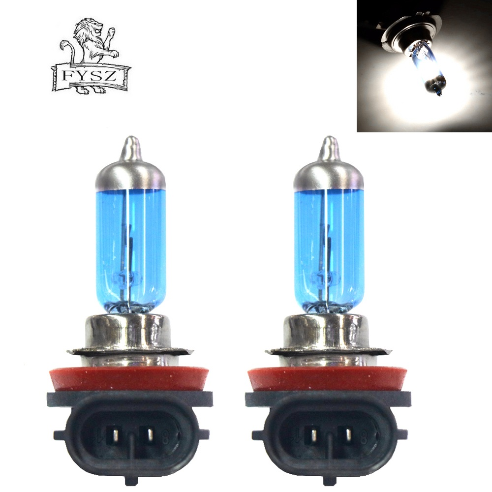 2Pcs <font><b>H8</b></font> 12V 35W Cars <font><b>Halogen</b></font> Headlamp Bulbs <font><b>White</b></font> 5000K 1600LM <font><b>Halogen</b></font> Bulb Foglight Headlight for Car DC-12V image