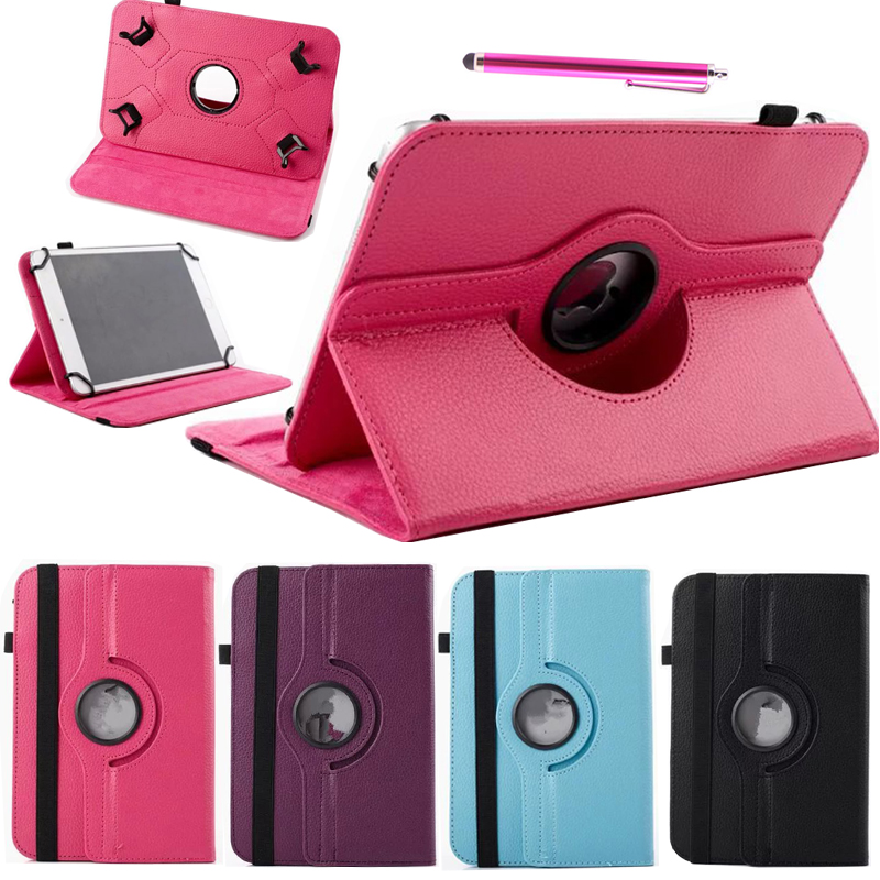 360 Rotating Universal PU Leather Stand Case Cover For 10 inch Android Tablet Cases For Samsung iPad Prestigio w/Stylus Pen universal 9 7 10 10 1 inch tablet cases filp stand pu leather case cover for modecom momentum 10 inch center film pen kf492a