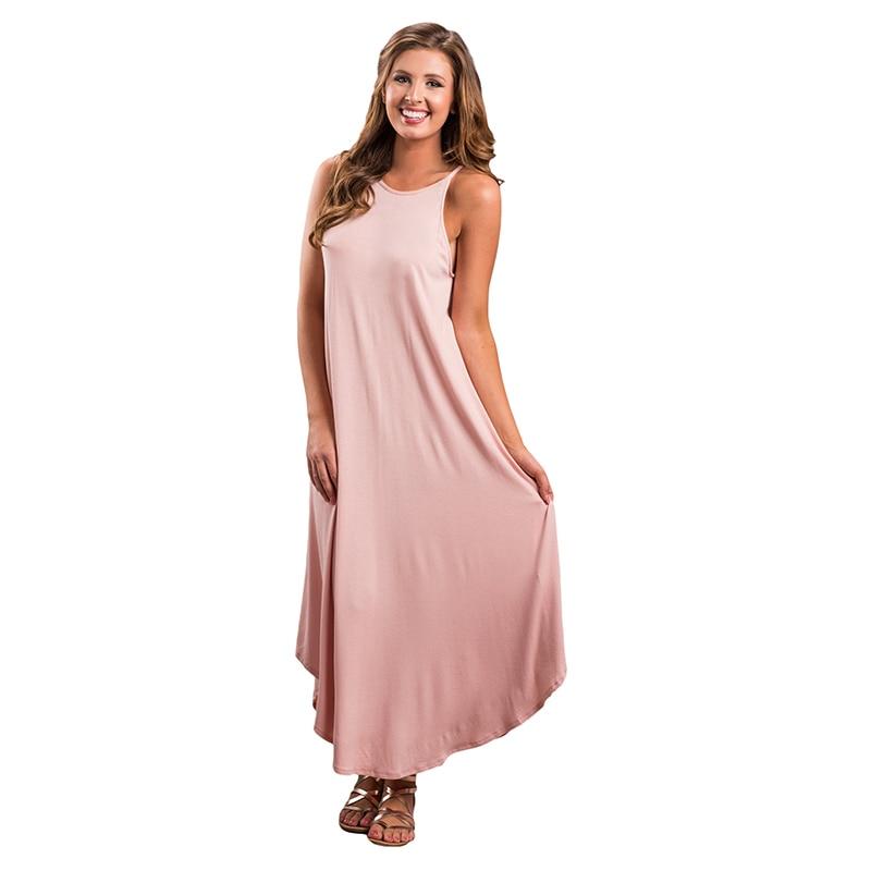 Summer Dress 2018 O neck Sleeveless Maxi Summer Dresses ...