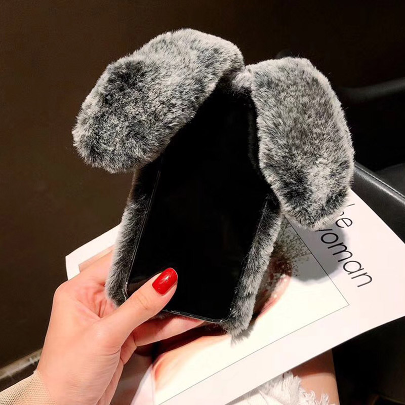 3D Cute Rabbit Hairy Warm Fur Case for iPhone X XR XS Max 6 6S 7 8 Plus  Bling Rhinestone Plush Bunny Cover for iPhone XS Max  (9)