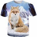 Verão de Moda de Nova Engraçado Raposa 3D T Shirt dos homens Da Novidade animais T-Shirt Roupas de Design Da Marca Plus Size S-5XL Tops Tee camisa
