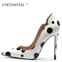 COCOAFOAL Women's Graffiti High Heels Shoes Stiletto Plus Size 33 43 44 Wedding Sexy Pumps Shallow Party White Valentine Shoes