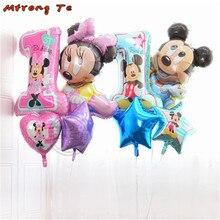 4 pçs/lote mickey minnie mouse bebê chuveiro menino menina primeiro aniversário primeira folha de balão de hélio da festa de aniversário decoração globos clássico brinquedo