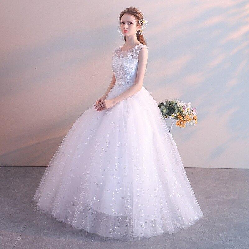 White Red Wedding Dress 2019 Bride Married Floor Length Princess Simple Pregnant Women High Waist Plus Size Vestidos De Novia