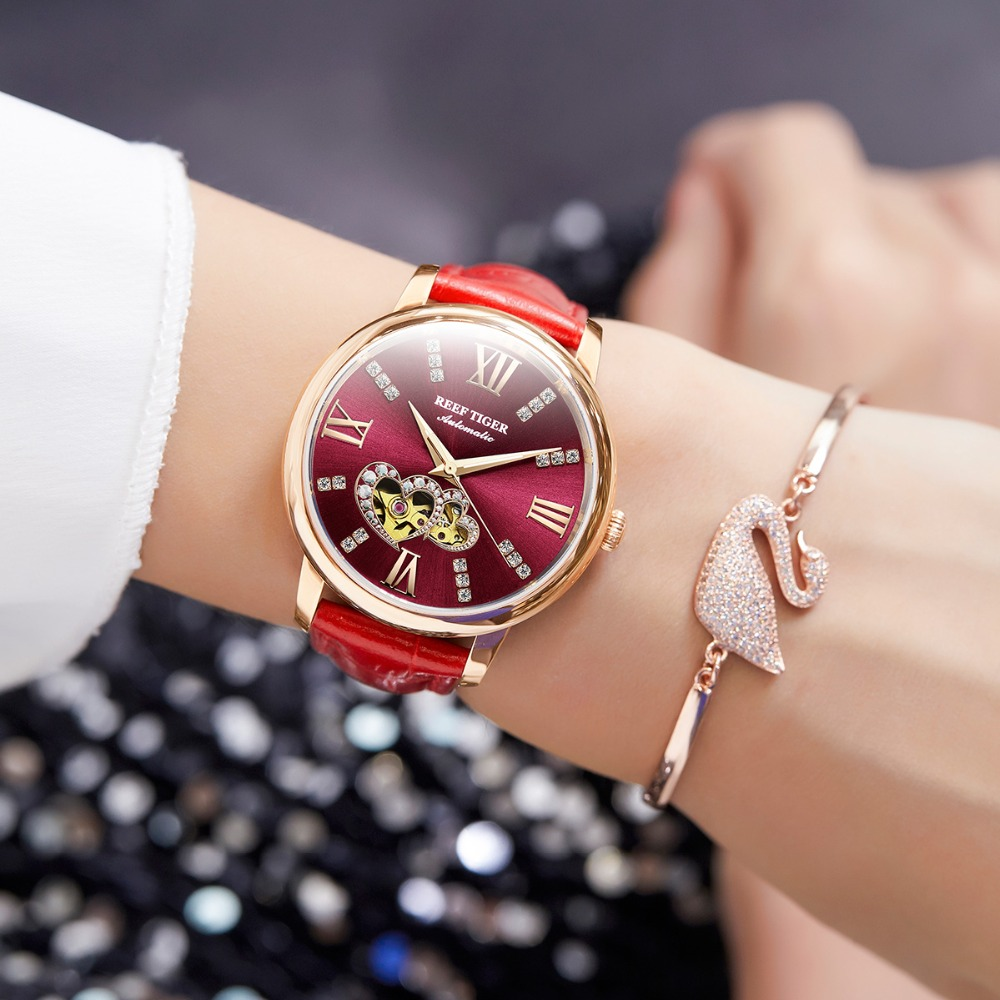 Reef Tiger RT Top Brand Luxury Ladies Watch Rose Gold Red Automatic Fashion Watches Lover Gift