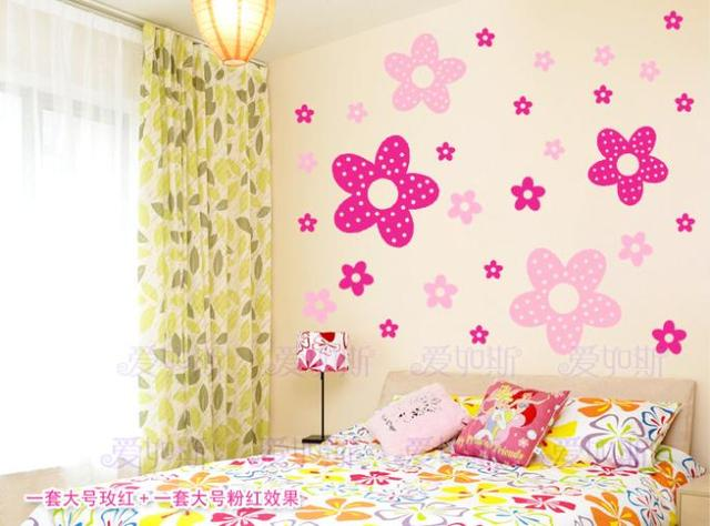 Vinilos Paredes Sale Wall Decor Poster Princess Girl Bedroom Stickers Children Cute Flowers Home Decoration 27pcs Big And