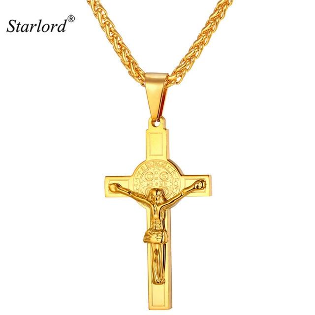 Heiligen Benedikt Kreuz Kruzifix Halskette Anhänger Trendy Edelstahl ...