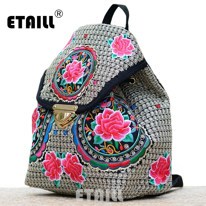 Ethnic Flower Embroidery Backpacks National Wind Personality Boho Thai Embroidered Canvas Drawstring Travel Bags Sac a Dos Femme national trend women handmade faced flower embroidered canvas embroidery ethnic bags handbag wml99