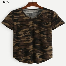 2017 Fashion Camouflage Print T Shirts Women Loose Short Sleeve Pocket Tshirts Casual Tops Plus Size Tees Femme Pullover Ja043
