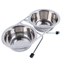 Stainless Steel Pet Dog Cat Puppy Travel Feeding Feeder Double Dual Food Bowl Water Dish Plate
