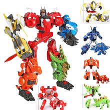 Children Boys Gifts Transformation Robots 5 in 1 Dinobots Combiner Big Deformation Toys
