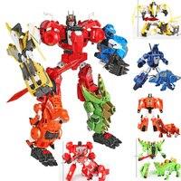 Children Boys Gifts Transformation Robots 5 in 1 Dinobots Combiner Big Deformation Toys