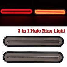 3 In 1 Neon Led Vrachtwagen Remlicht Waterdichte Tail Brake Stop Light Vloeiende Richtingaanwijzer Lamp 12 24V