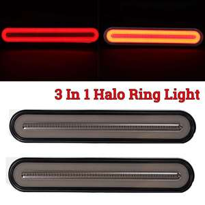 3 in 1 Neon LED Trailer Truck Brake Light Waterproof Tail Brake Stop Light Flowing Turn Signal Lamp 12-24V