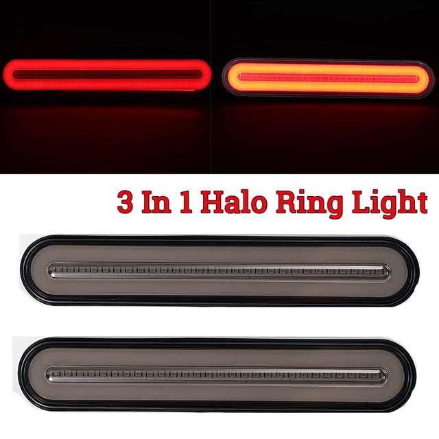 3 in 1 Neon LED Trailer Truck Brake Light Waterproof Tail Brake Stop Light Flowing Turn Signal Lamp 12 24V