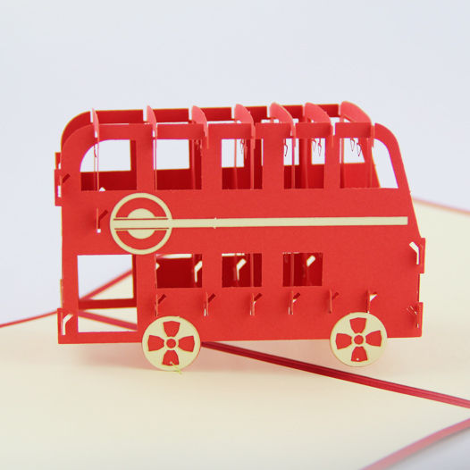 London bus red bus London souvenir card /3D  card  pop up card/ gift card  laser cut customize Free shipping welly london bus 99930