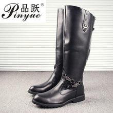 Nueva llegada negro largo rodilla botas de los hombres del dedo del pie  redondo hebilla alta casuales de la PU zapatos de cuero . 17669af636b18