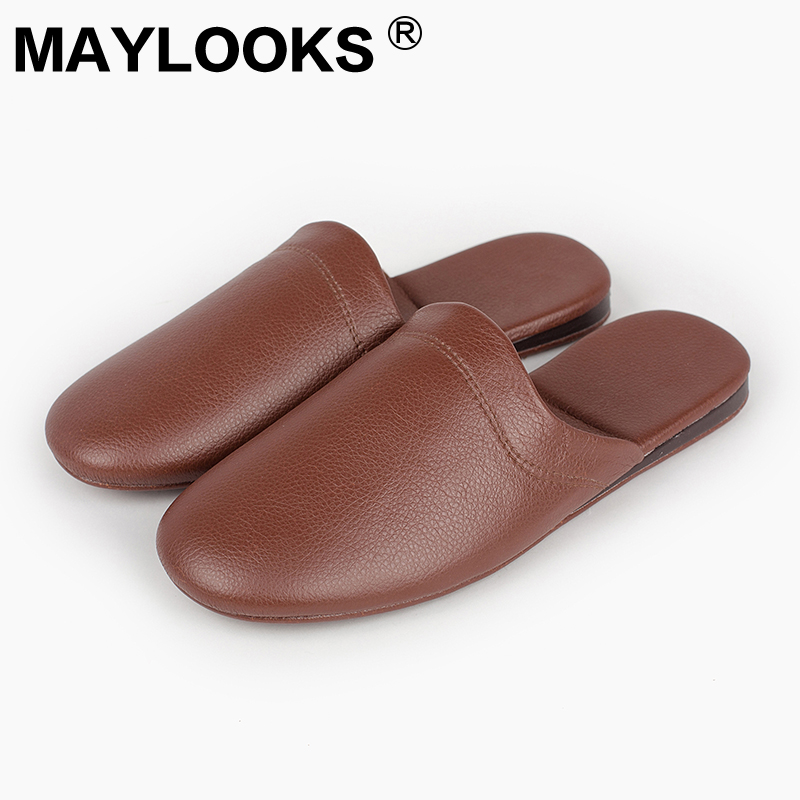 Men's Slippers Spring And Autumn pu Leather Home Indoor Non - Slip Thermal Slippers 2018 New Hot Maylooks N-198 gift n home
