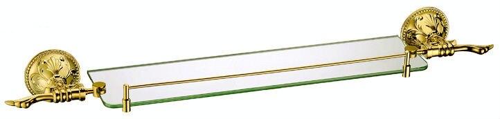Free shipping European style glass shelf Bathroom Accessories Luxurious Brass Gold plating Single Glass Shelf GB012b