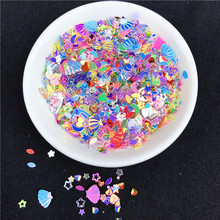 10g/Pack Mixed Colors 3-7mm Mixed Star Heart Shape Loose Sequins DIY nail Craft,Slime Making, Wedding Decoration confetti(China)