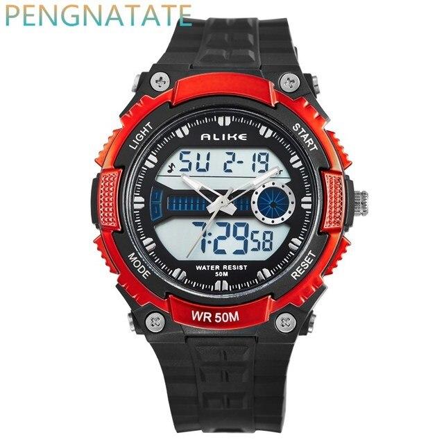 Men Watches ALIKE Watch LED 50M Waterproof Digital Analog Quartz Watch Wristwatch Timepiece For Man  Boy Sports Watch PENGNATATE