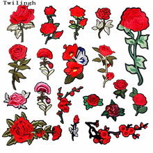 1 Piece Patches Red Flower Embroidered Patch 3D Applique DIY Sewing Repair Accessories Fabric Stickers Wedding Clothing Patches