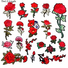 1 Piece Patches Red Flower Embroidered Patch 3D Applique DIY Sewing Repair Accessories Fabric Stickers Wedding Clothing
